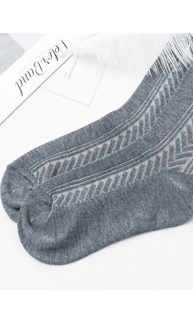 Talking All Night Chevron Texture Knit Over The Knee Socks - Sold Out