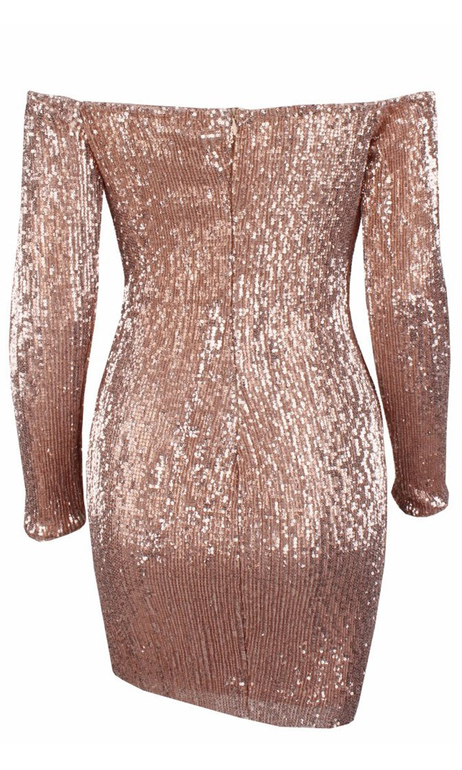 I've Got Stamina Champagne Sequin Long Sleeve Off The Shoulder Bodycon Mini Dress