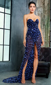Out Of My Way Blue Leopard Pattern Strapless V Neck Chiffon Wrap High Slit Maxi Dress