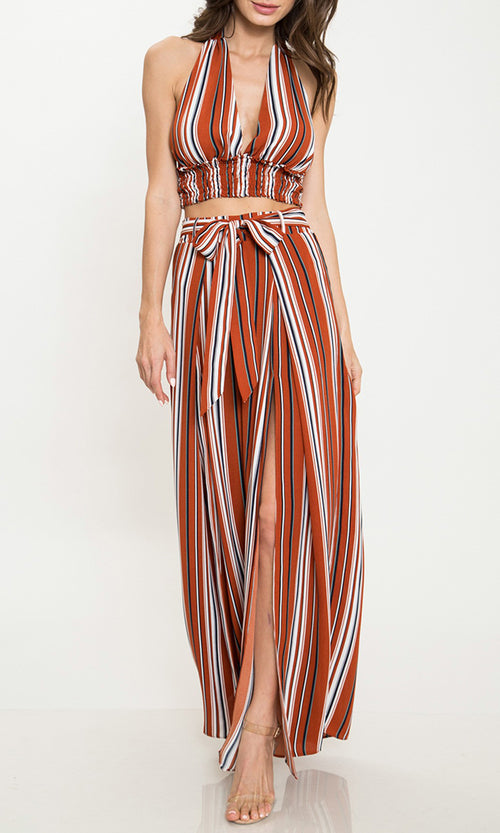 Get In Line Orange Vertical Stripe Pattern Sleeveless Plunge V Neck Halter Crop Top Split Loose Wide Leg Pants Two Piece Set (Pre-order)