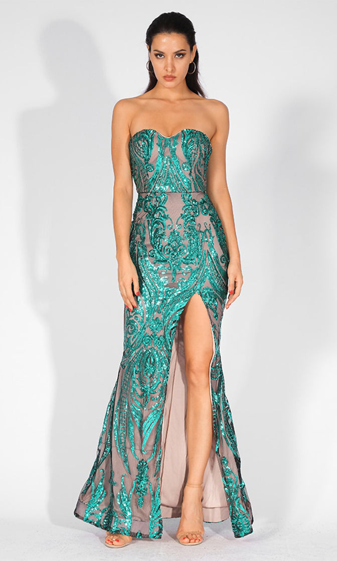 Mystic Lover Nude Aqua Sequin Geometric Pattern Strapless High Slit Maxi Dress