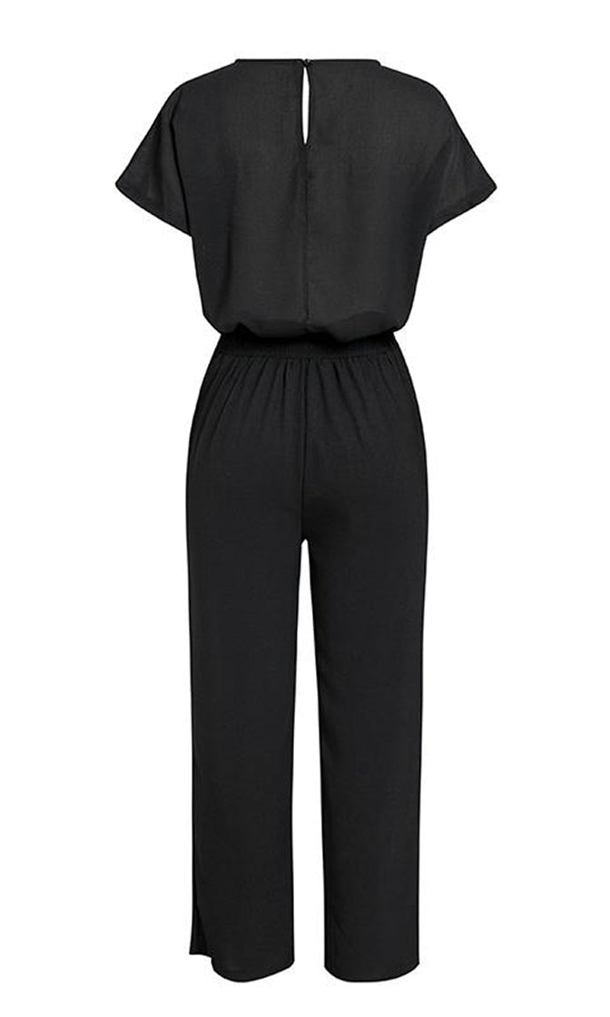 Be The Real Deal Black Short Sleeve Boat Neck Top Loose Wide Leg Belted Pant Two Piece Jumpsuit Set
