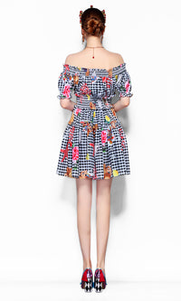 Complex Issues White Black Plaid Pattern Short Sleeve Off The Shoulder Smocked Flare A Line Casual Mini Dress - Sold Out