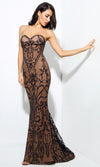 Baroque Bombshell Black Nude Sheer Mesh Beaded Geometric Floral Pattern Strapless Sweetheart Neck Fishtail Mermaid Maxi Dress