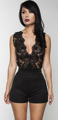 Keep It Together Black Sheer Mesh Lace Sleeveless Sleeveless Plunge V Neck Short Romper - Sold Out