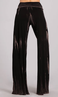 Widen Your Heart Dark Brown Tie Dye Velvet High Waist Fold Over Wide Leg Loose Palazzo Pants - Sold Out
