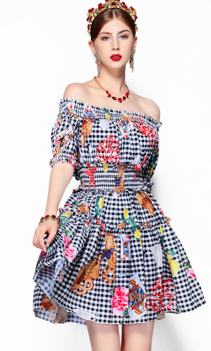 Complex Issues White Black Plaid Pattern Short Sleeve Off The Shoulder Smocked Flare A Line Casual Mini Dress