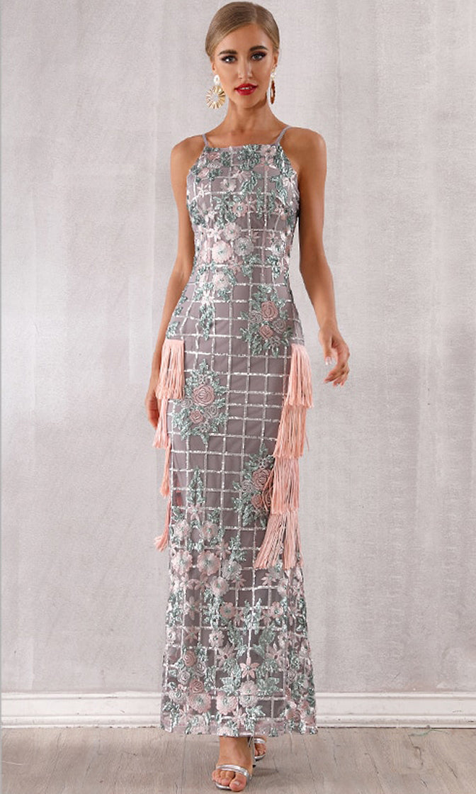 Overnight Success Grey Coral Geometric Floral Pattern Sequin Sleeveless Spaghetti Strap Square Neck Fringe Mermaid Bandage Maxi Dress