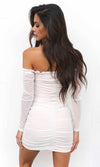 Top Of The Charts White Ruched Long Sleeve Off The Shoulder Ruffle Tie Front Bodycon Casual Mini Dress