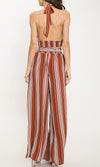 Get In Line Orange Vertical Stripe Pattern Sleeveless Plunge V Neck Halter Crop Top Split Loose Wide Leg Pants Two Piece Set (Pre-order) - Sold Out