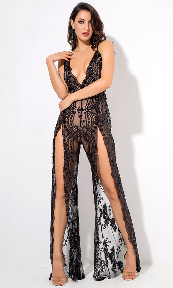 d505c362c35e Take A Step Back Black Sequin Floral Pattern Sheer Mesh Sleeveless  Spaghetti Strap Plunge V Neck