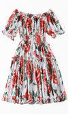 Dreaming Of Peace White Red Floral Pattern Short Sleeve Off The Shoulder Smocked Flare A Line Casual Mini Dress - Sold Out