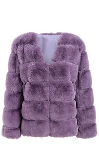 Fur A Minute Faux Fur Long Sleeve V Neck Coat Outerwear - 5 Colors Available - Sold Out