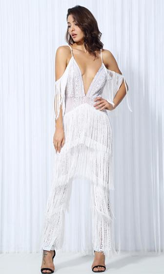 Swing Shift White Lace Fringe Sleeveless Spaghetti Strap Plunge V Neck Jumpsuit