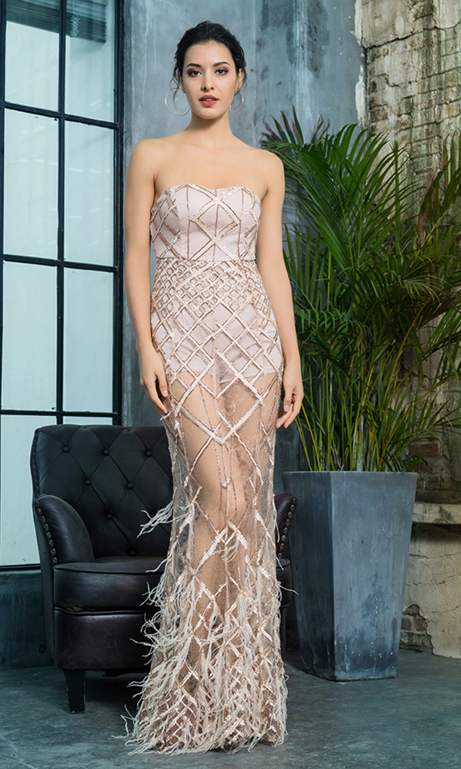 d2c9ee684dc Turn Back Time Gold Sheer Mesh Diamond Geometric Pattern Sequin Feather  Strapless Maxi Dress