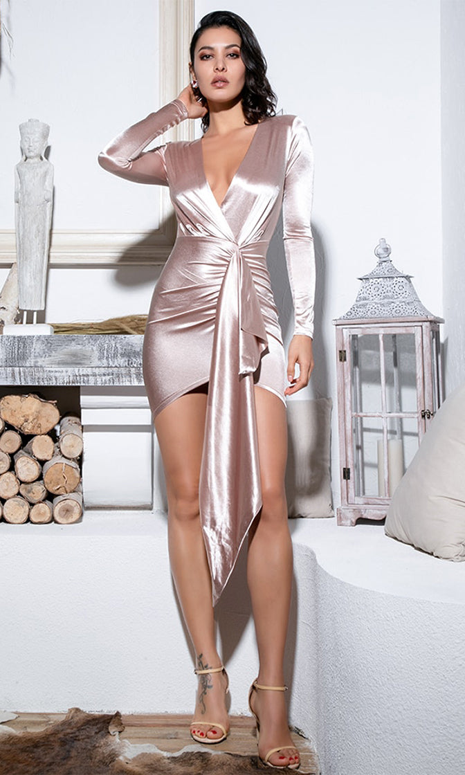 Higher And Higher Champagne Satin Long Sleeve Cross Wrap V Neck Sash Bodycon Mini Dress