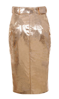 Gold Rush Gold Metallic High Waist Belted Cargo Pocket Pencil Midi Skirt - Sold Out