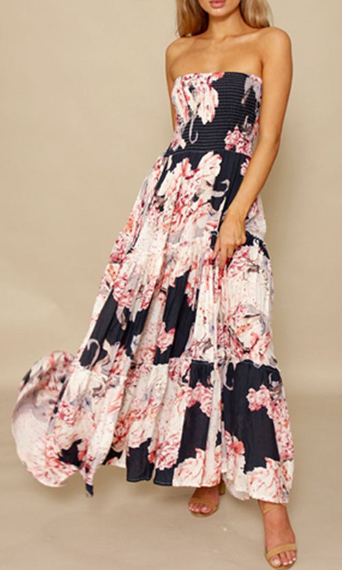 Fresh Bouquet Pink Floral Pattern Strapless Ruffle Casual Maxi Dress