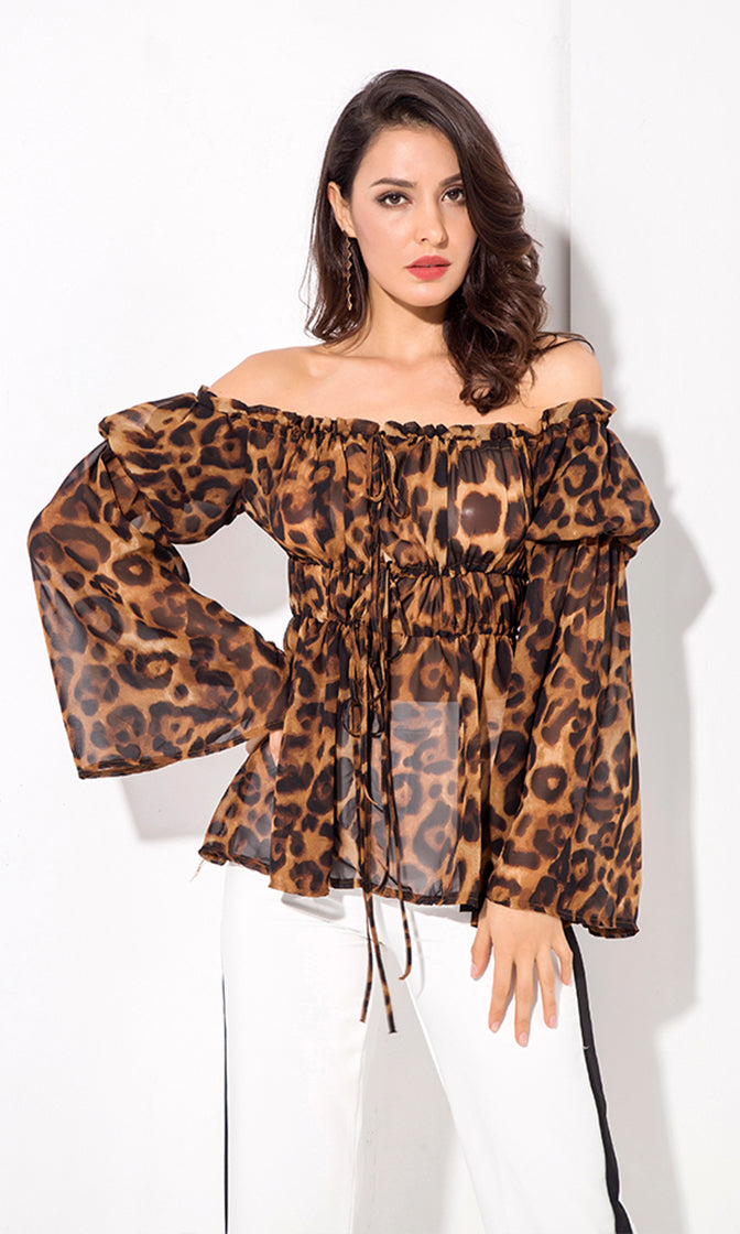 Wild By Day Brown Leopard Long Flare Pattern Sleeve Off The Shoulder Cinch Waist Blouse Top
