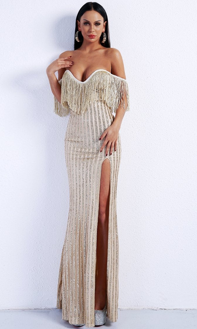 Glamorous Romance Gold Stripe Fringe Tassel Glitter Off The Shoulder V Neck High Slit Maxi Dress