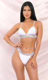 A Little Glitz White Triangle Spaghetti Strap Top Rhinestone Band High Cut Two Piece Bikini Swimsuit - 2 Colors Available