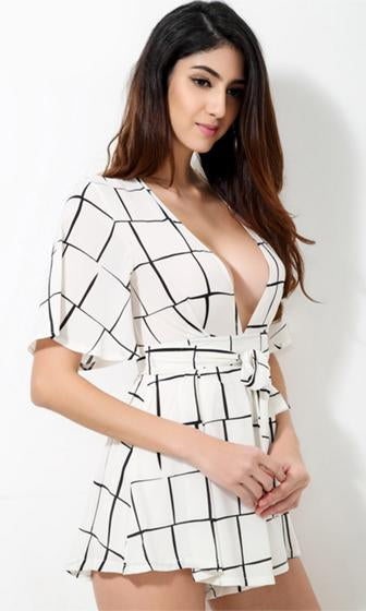 My Wild Heart White Black Geometric Plaid Short Trumpet Sleeve Plunge V Neck Tie Waist Romper Playsuit - Sold Out!