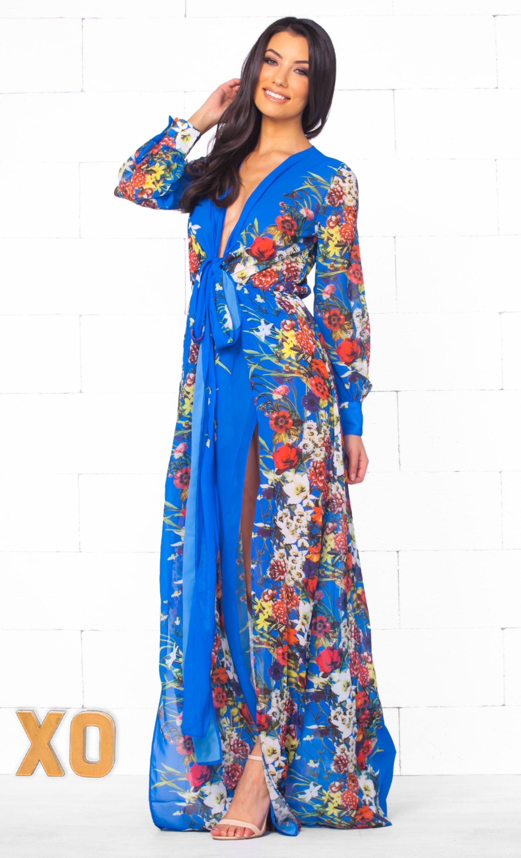 Indie XO Tropical Paradise Blue Blue Red Pink Green Beige White Floral Long Sleeve Plunge V Neck High Slit Chiffon Maxi Dress - Just Ours! - Sold Out