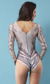 Stand In Line Nude Diamond Geometric Pattern Long Sleeve Round Neck Beaded Stud Bodysuit Top - Sold Out
