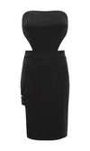 Double Vision Black Strapless Cut Out Side Thigh Strap Bodycon Midi Dress - Sold Out