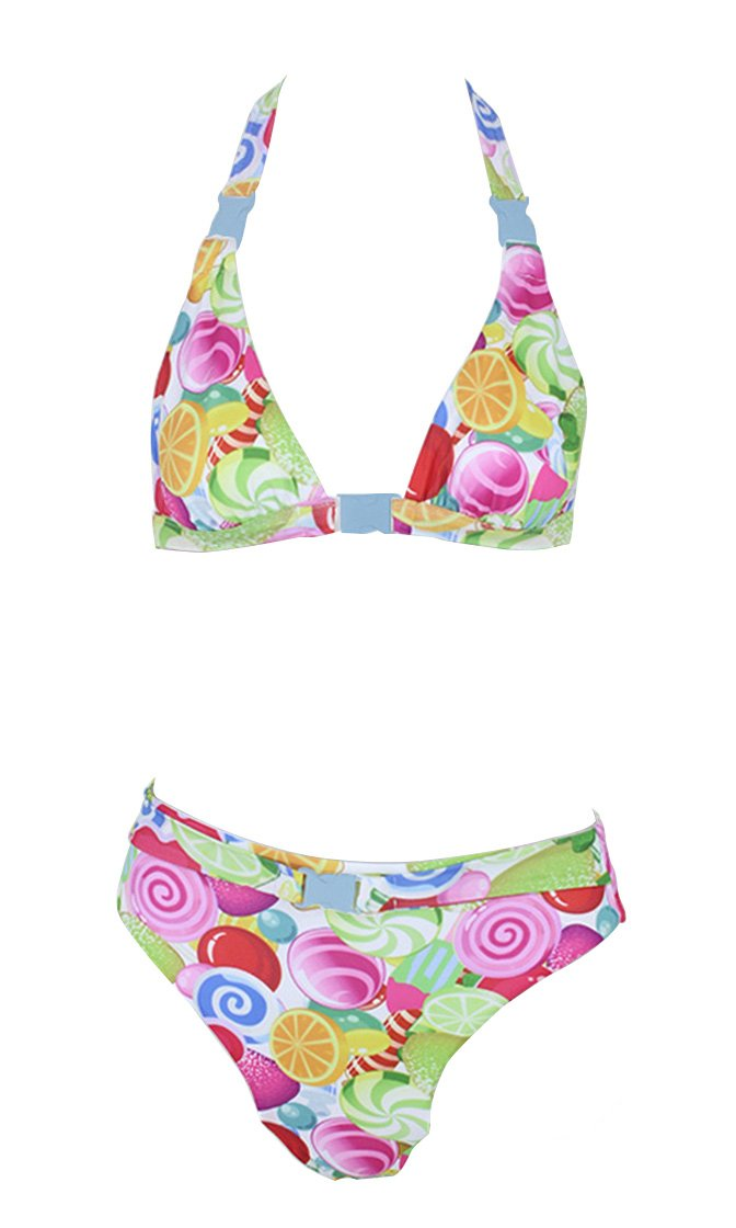 Somewhere In Paradise Allover Pattern Halter Top Brazilian Two Piece Bikini Swimsuit - 3 Colors Available