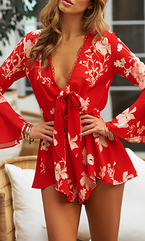 Wave Maker Red Floral Long Bell Sleeve V Neck Tie Front Cut Out Waist Romper Playsuit