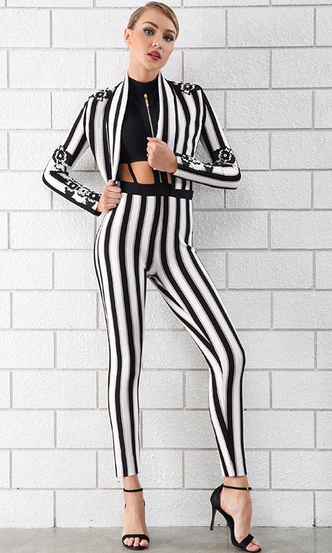Finish Line Black White Vertical Stripe Pattern Sleeveless Cut Out Bandage Outerwear Jumpsuit Floral Embroidery Jacket Two Piece Set