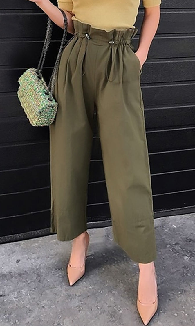 Walk If Off Army Green Elastic Paperbag Drawstring Waist Loose Pants