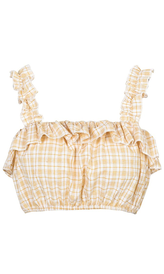 Coastal Cutie Plaid Pattern Sleeveless Ruffle Stripe Elastic Crop Top - 2 Colors Available - Sold Out