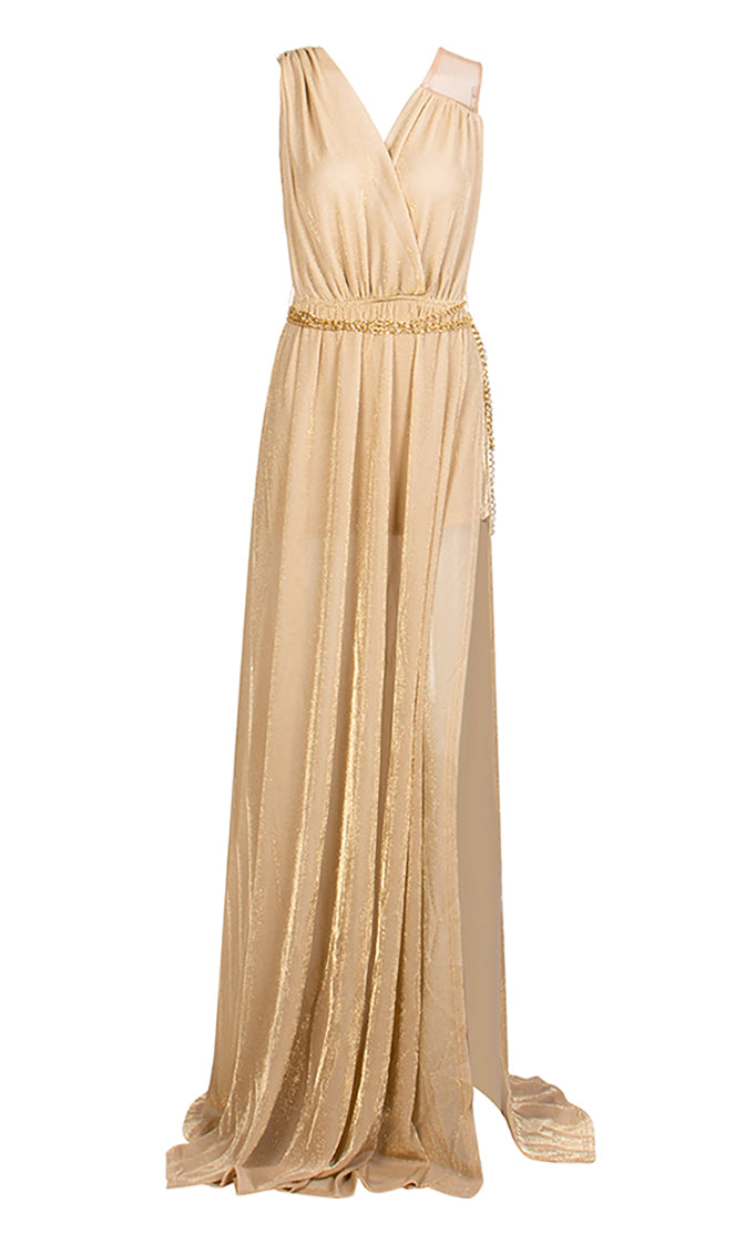 Hollywood Beauty Beige Gold Sleeveless Cross Wrap V Neck Pleated Chain Belt Side Slit Maxi Dress