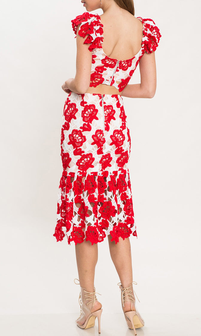 Hey Senorita White Red Floral Pattern Ruffle Cap Sleeve V Neck Crop Top Cut Out Casual Midi Dress Two Piece Set - Sold Out