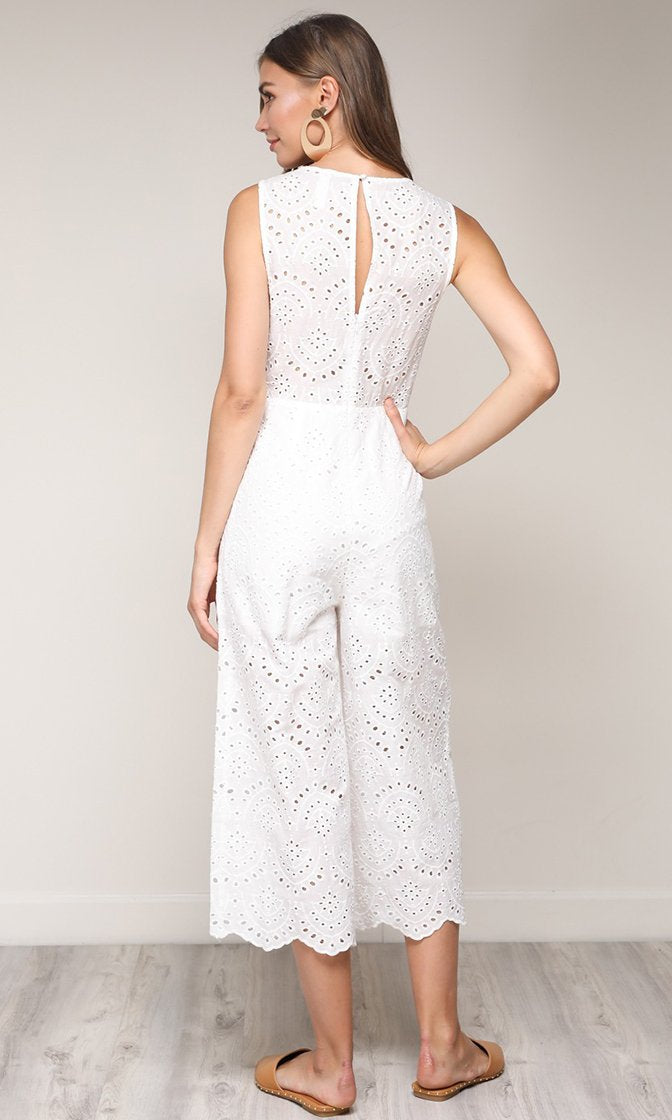 Summer Kisses Sleeveless Pointelle Lace Bow V Neck Wide Leg Crop Jumpsuit - 2 Colors Available (Pre-Order) - Sold Out