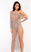 Having It My Way Silver One Shoulder Long Sleeve Sheer Mesh Cut Out High Slit Casual Maxi Dress