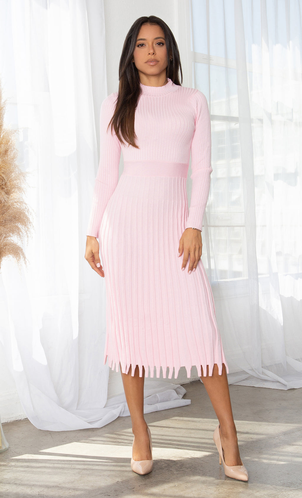 All You Want Light Pink Pleated Crew Ribbed Round Neck Modest Long Sleeve Stretch Knit Body Con Sweater Midi Dress
