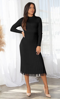 All You Want Nude Pleated Crew Ribbed Round Neck Modest Long Sleeve Stretch Knit Body Con Sweater Midi Dress