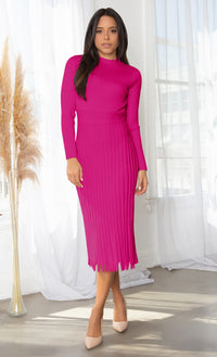 All You Want Black Pleated Crew Ribbed Round Neck Modest Long Sleeve Stretch Knit Body Con Sweater Midi Dress