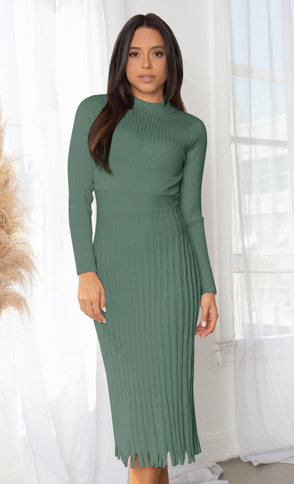 All You Want Green Pleated Crew Ribbed Round Neck Modest Long Sleeve Stretch Knit Body Con Sweater Midi Dress