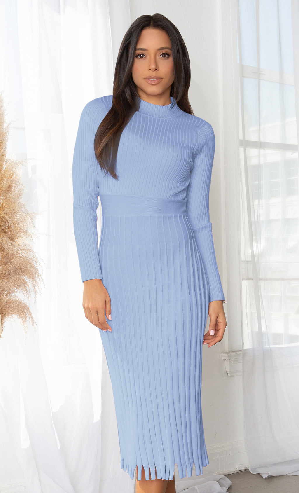 All You Want Sky Blue Pleated Crew Ribbed Round Neck Modest Long Sleeve Stretch Knit Body Con Sweater Midi Dress