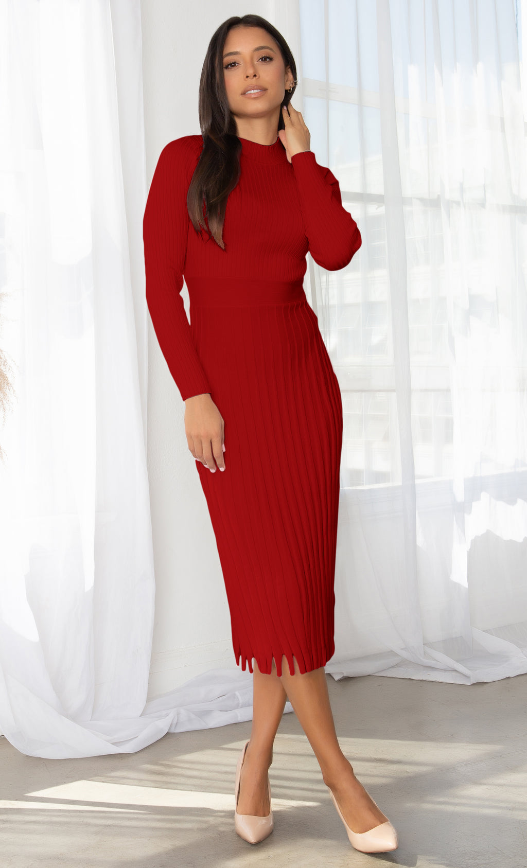 All You Want Red Pleated Crew Ribbed Round Neck Modest Long Sleeve Stretch Knit Body Con Sweater Midi Dress