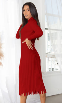 All You Want Purple Pleated Crew Ribbed Round Neck Modest Long Sleeve Stretch Knit Body Con Sweater Midi Dress