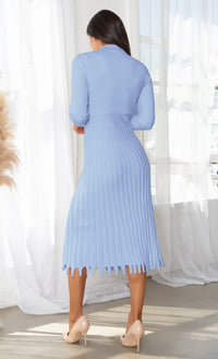 All You Want Blue Pleated Crew Ribbed Round Neck Modest Long Sleeve Stretch Knit Body Con Sweater Midi Dress