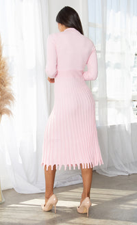All You Want Rust Brown Pleated Crew Ribbed Round Neck Modest Long Sleeve Stretch Knit Body Con Sweater Midi Dress