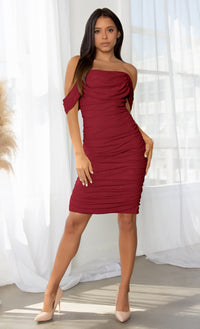 Queen Of Hearts Pink Short Sleeve Off The Shoulder Draped Ruched Bodycon Midi Dress