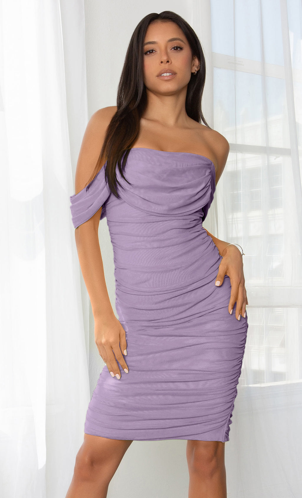 Queen Of Hearts Purple Short Sleeve Off The Shoulder Draped Ruched Bodycon Midi Dress