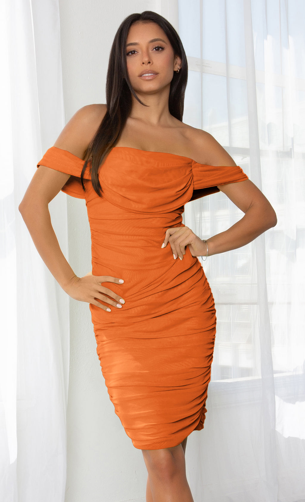 Queen Of Hearts Orange Short Sleeve Off The Shoulder Draped Ruched Bodycon Midi Dress